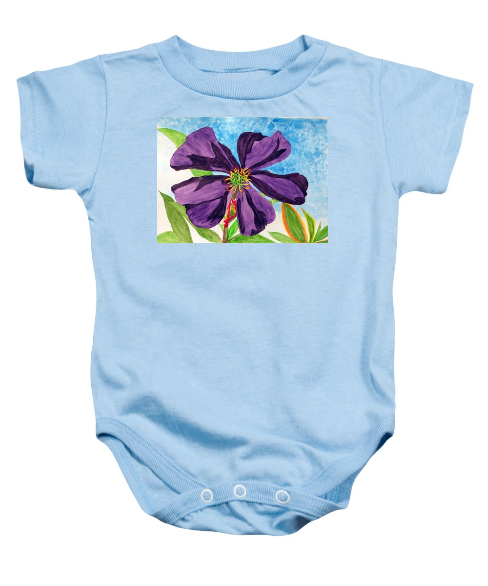 Floral Painting Baby Onesie featuring the painting Our Very Bold Tibouchina by Debi Singer