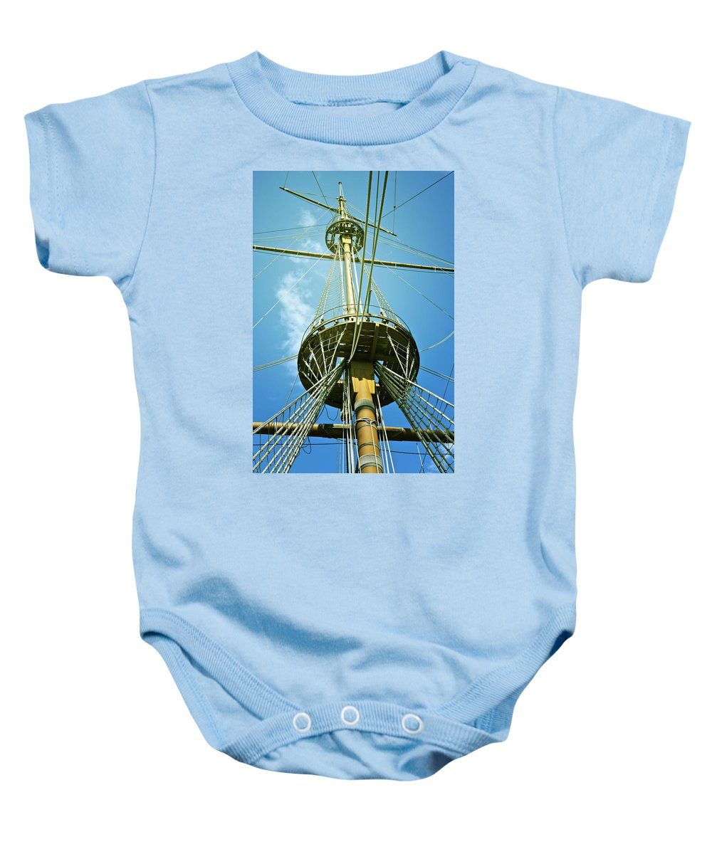 Mast Baby Onesie featuring the photograph Pirate Ship by Joana Kruse