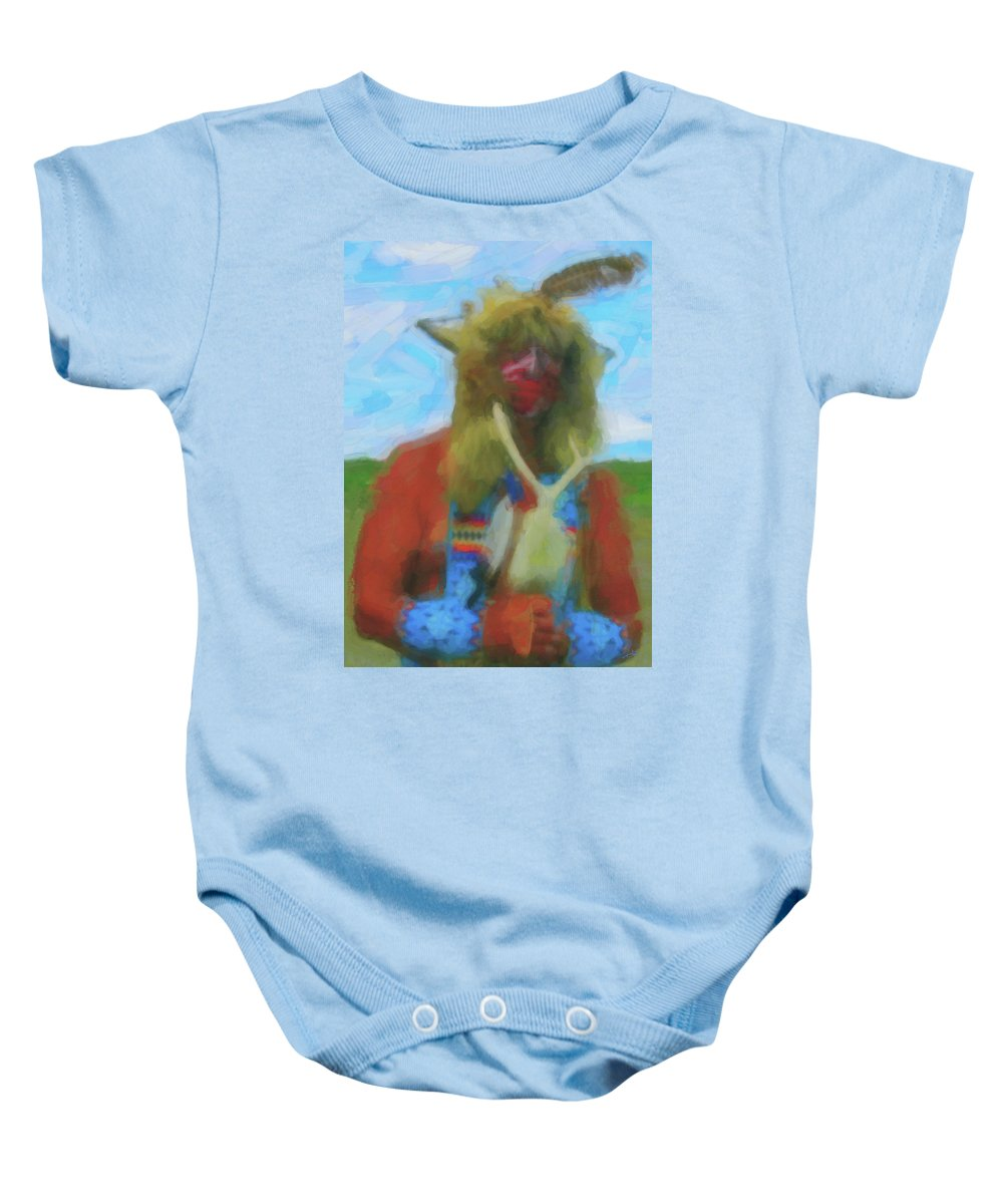 Proud Crow Warrior Baby Onesie featuring the digital art Proud Crow Warrior II by Gary Baird
