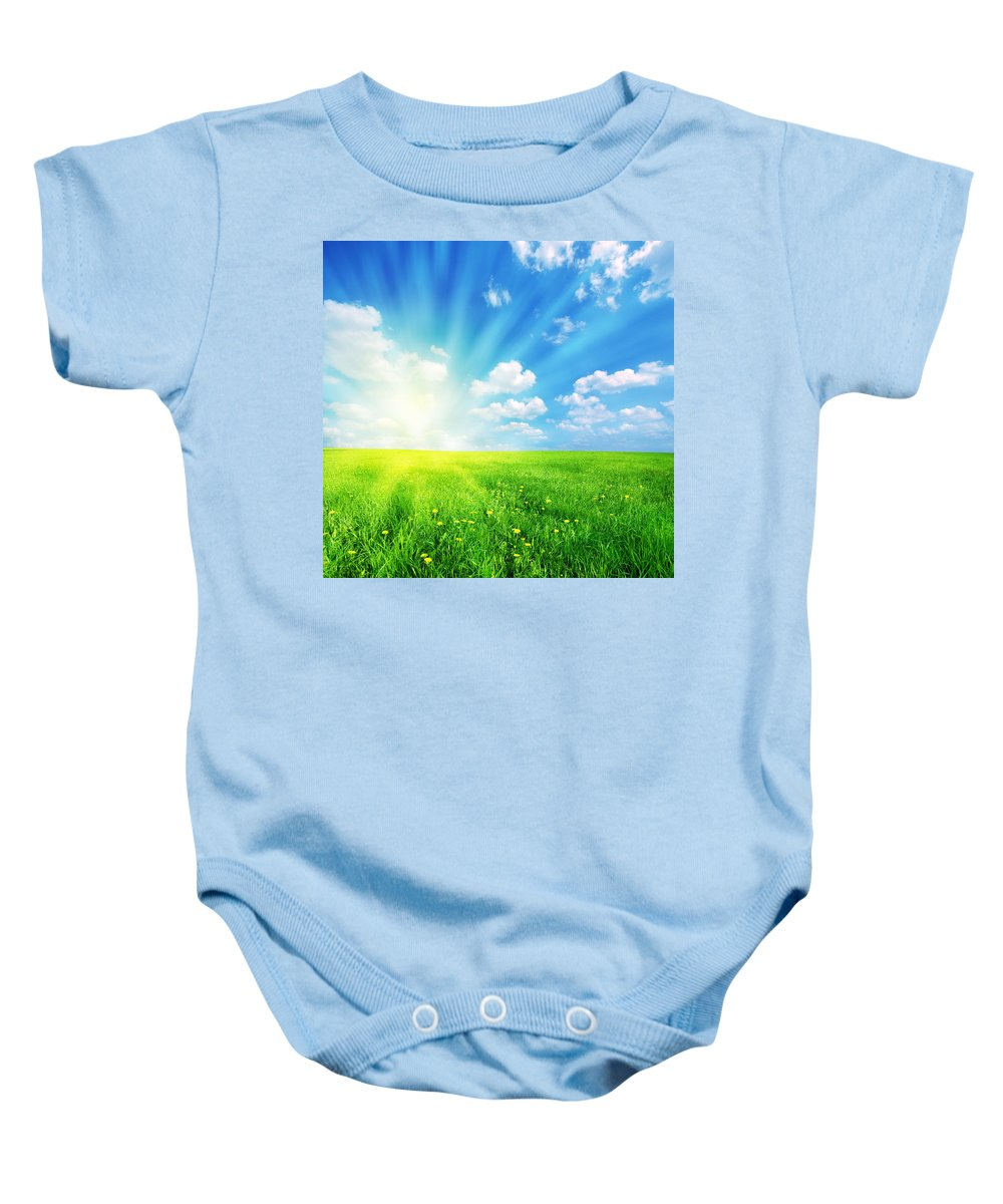 Agriculture Baby Onesie featuring the photograph Sunny Spring Landscape by Michal Bednarek