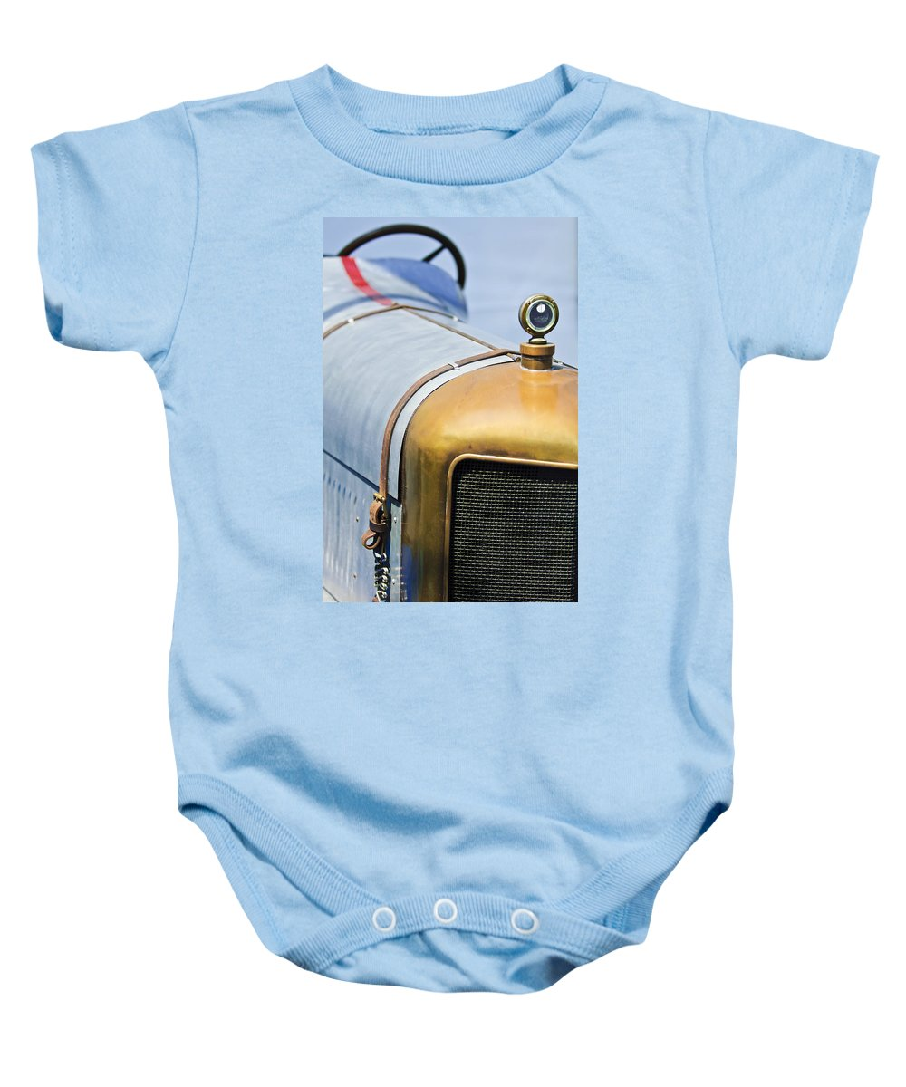 1919 Miller Tnt Baby Onesie featuring the photograph 1919 Miller Tnt Grille by Jill Reger