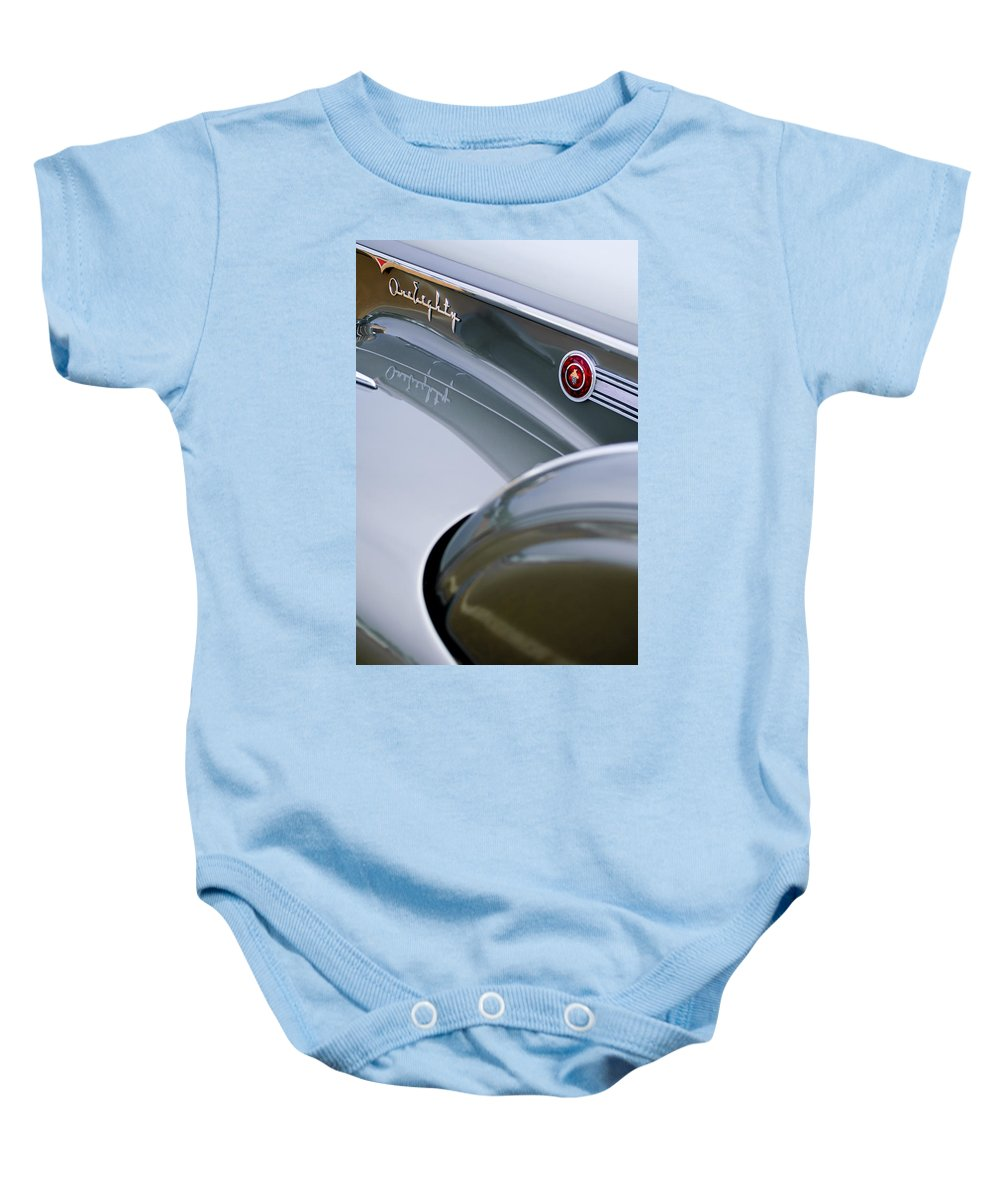 1941 Packard 1907 Custom Eight One-eighty Lebaron Sport Brougham Baby Onesie featuring the photograph 1941 Packard 1907 Custom Eight One-eighty Lebaron Sport Brougham Side Emblems by Jill Reger