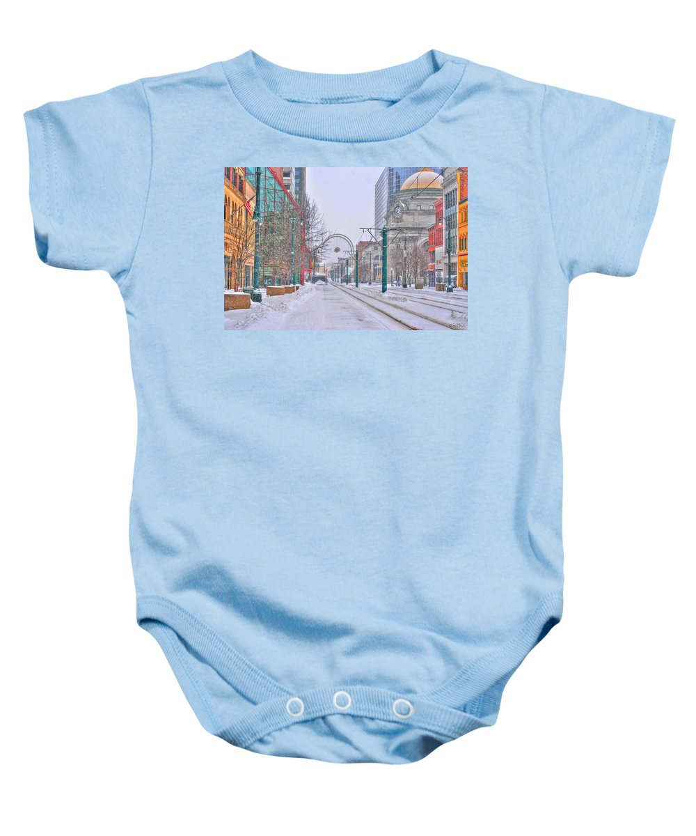 Baby Onesie featuring the photograph 1st Real Snow Golddome 2012 by Michael Frank Jr