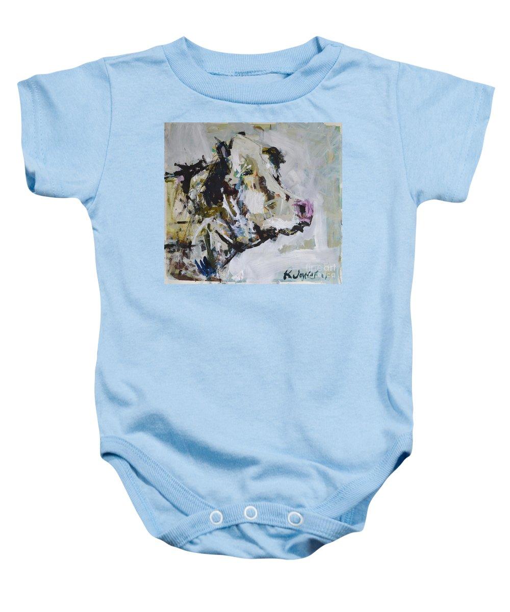 Art Baby Onesie featuring the painting Cow Portrait by Robert Joyner