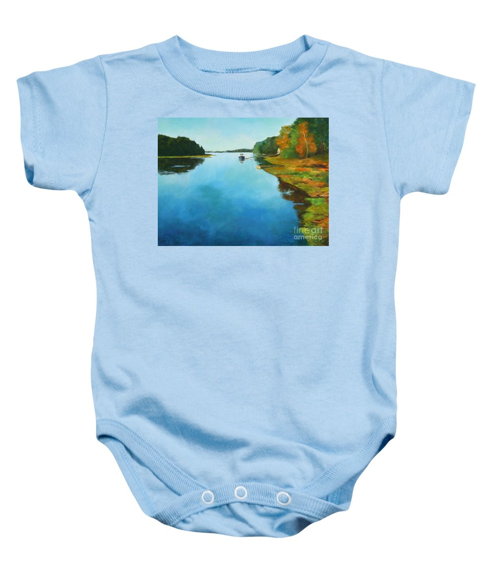 Summer Cottage Baby Onesie featuring the painting Little River Gloucester by Claire Gagnon