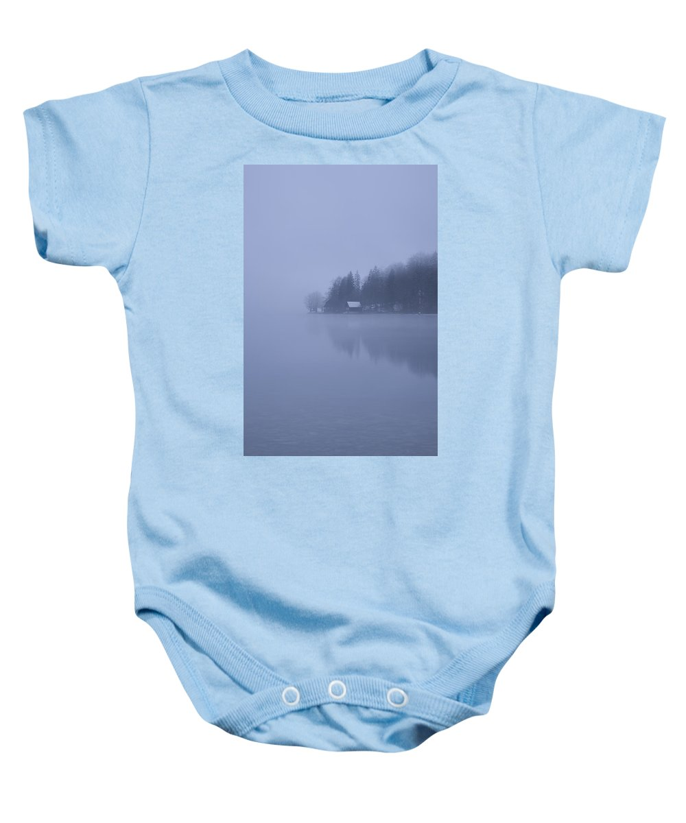 Bohinj Baby Onesie featuring the photograph Misty Dawn by Ian Middleton