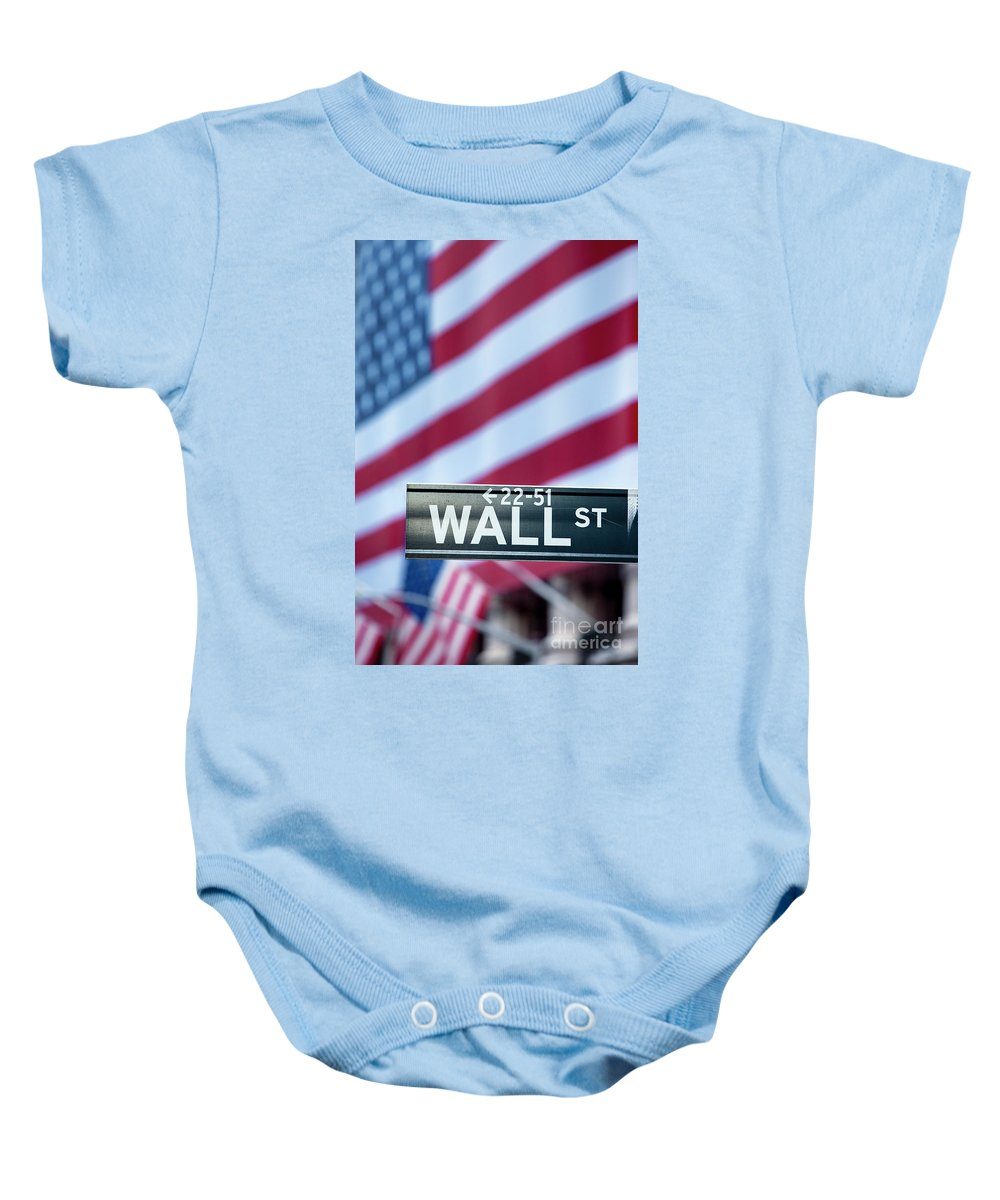 American Baby Onesie featuring the photograph Wall Street Flag by Brian Jannsen