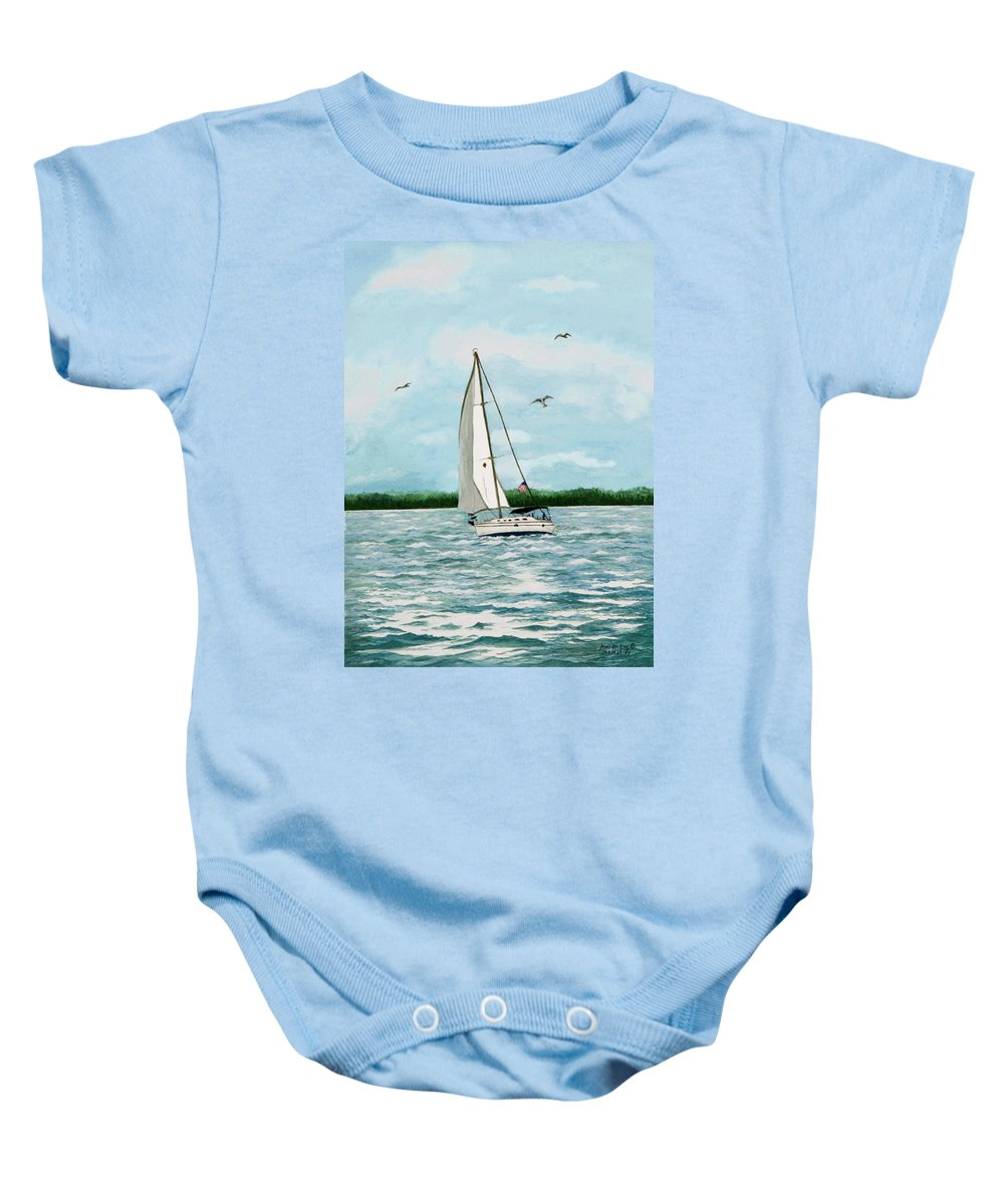 Sailboat Paintings Baby Onesie featuring the painting A Day In Virginia by Mary Ann King