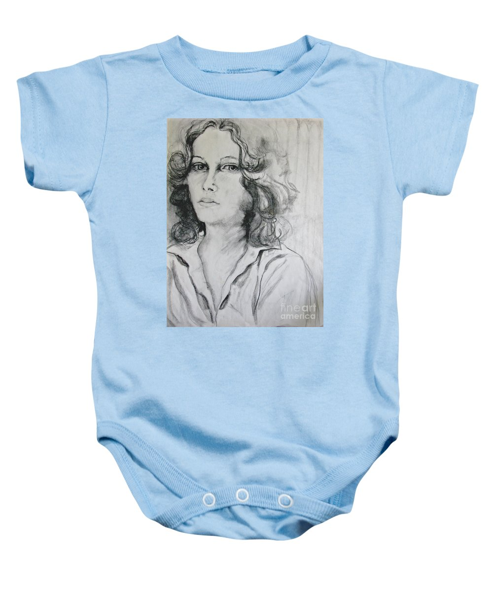 Portrait Baby Onesie featuring the drawing A Look Within by Rory Sagner