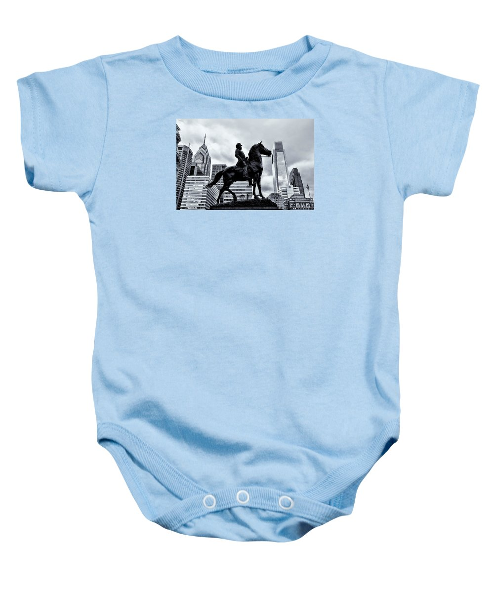 Man Baby Onesie featuring the photograph A Man A Horse And A City by Bill Cannon