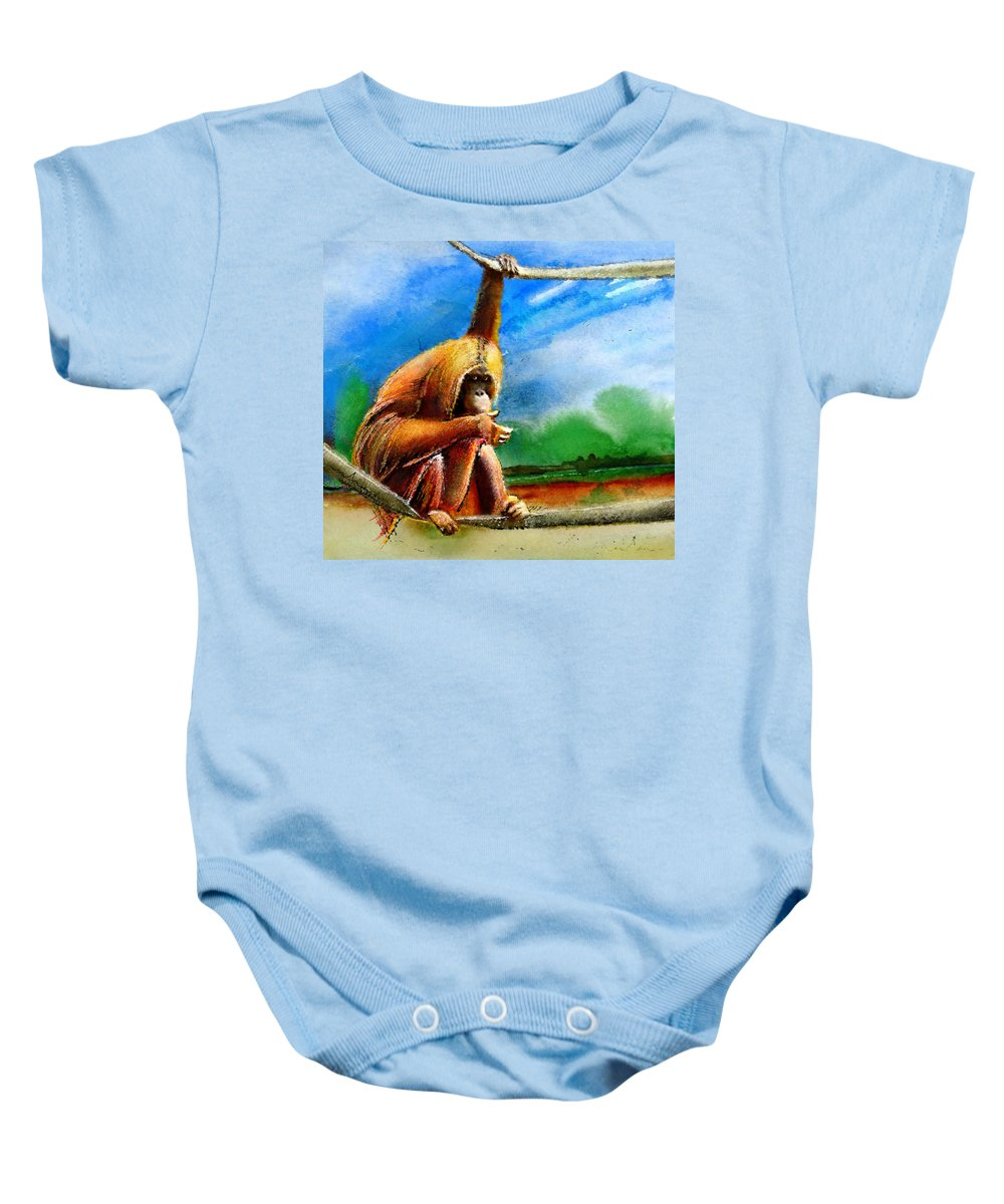 Animals Baby Onesie featuring the painting A Question Of Balance by Miki De Goodaboom