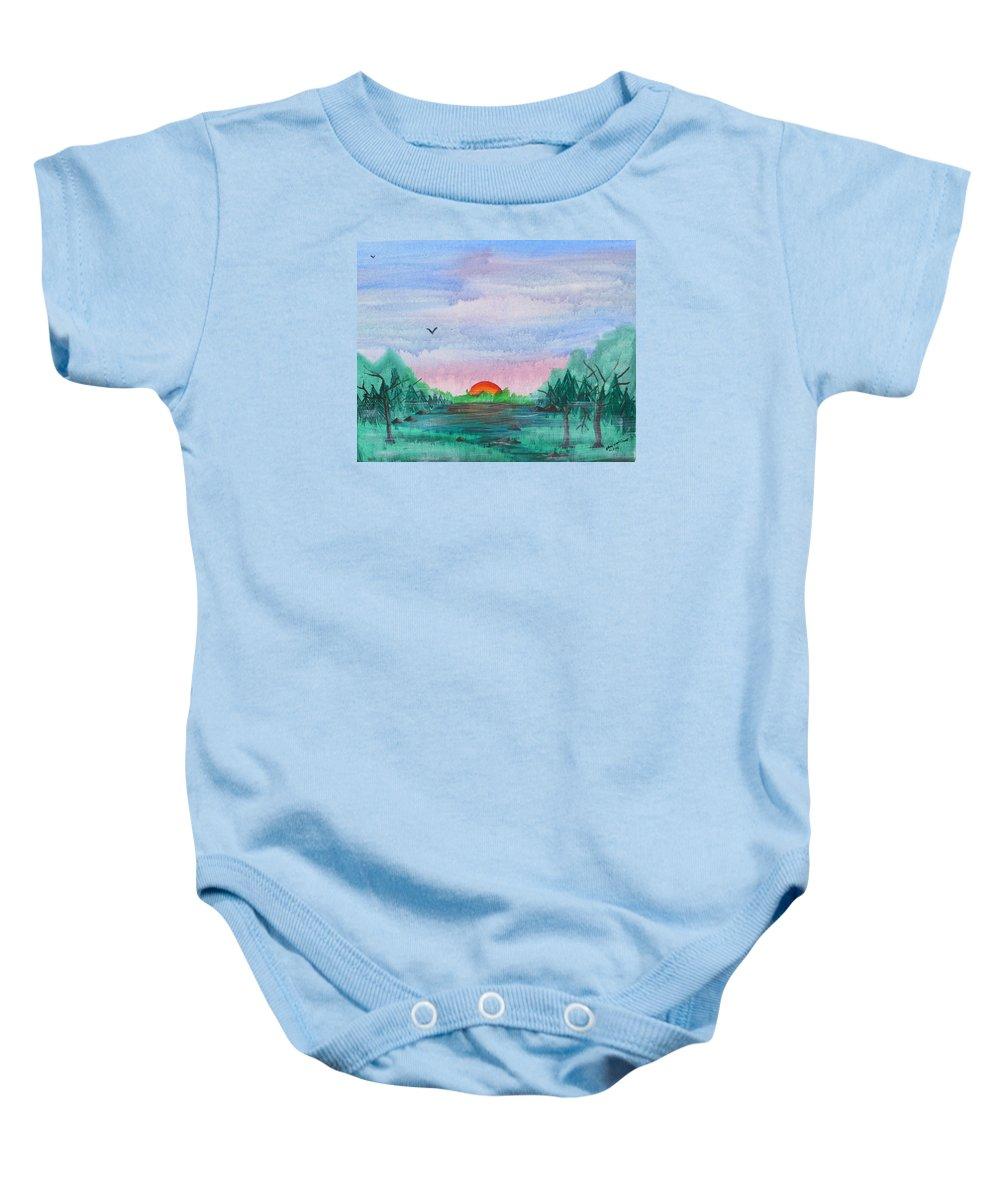Sunrise Baby Onesie featuring the painting A Rainy Misty Sunrise by Arlene Wright-Correll