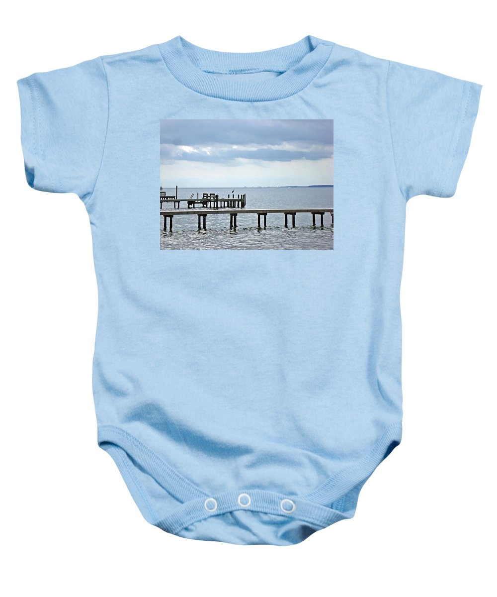 Blue Heron Baby Onesie featuring the photograph A Stormy Day On The Pamlico River by Joan Meyland