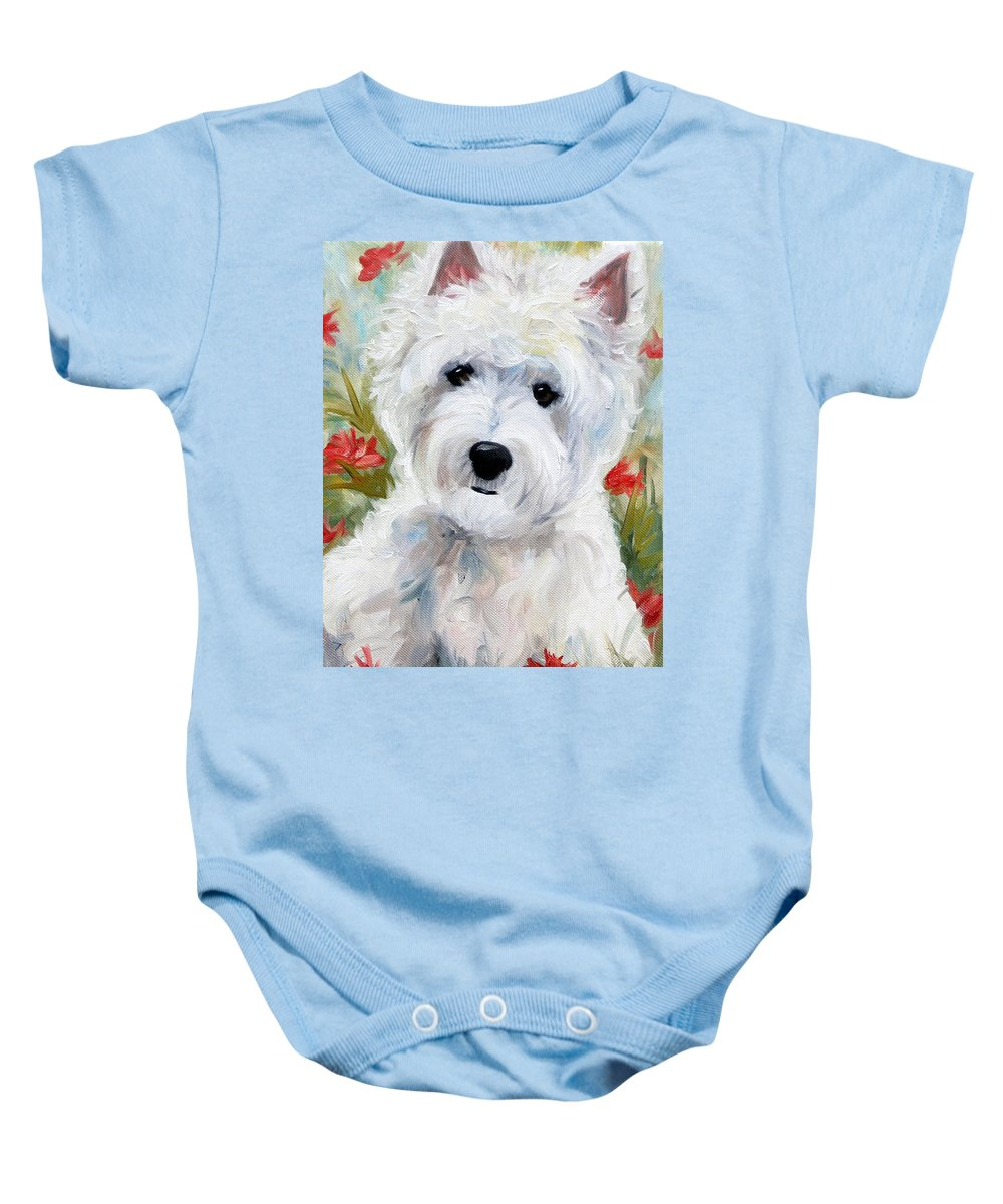 Art Baby Onesie featuring the painting A Touch Of Spring by Mary Sparrow