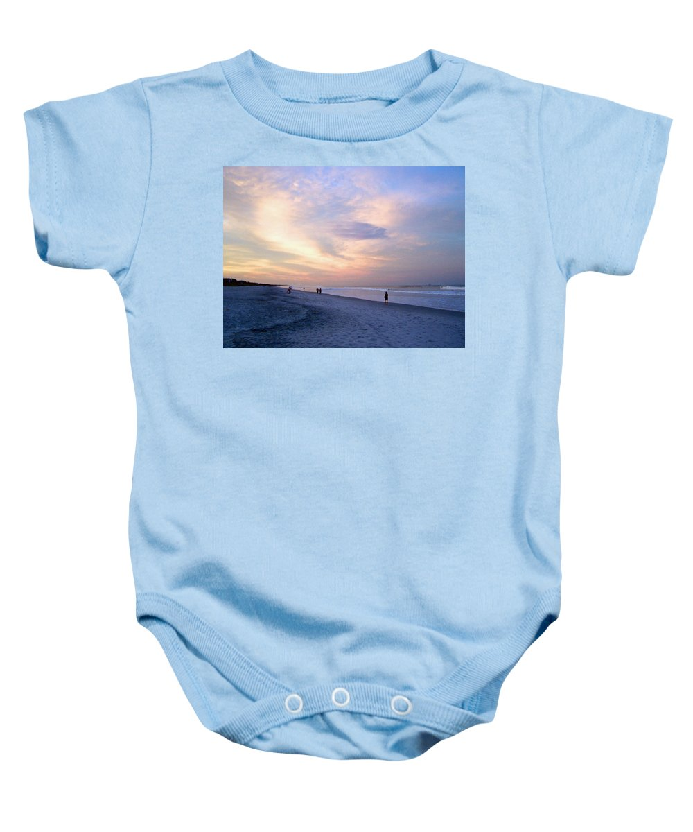Sunset Baby Onesie featuring the photograph A Walk On The Beach by Patricia Taylor