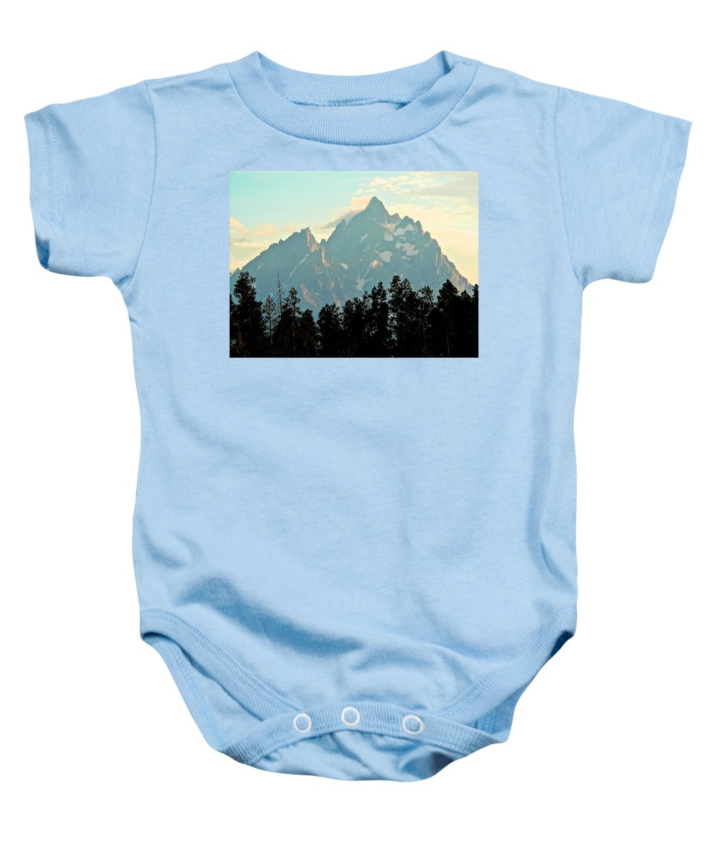 Grand Tetons Baby Onesie featuring the photograph Above The Tree Line by Eric Tressler