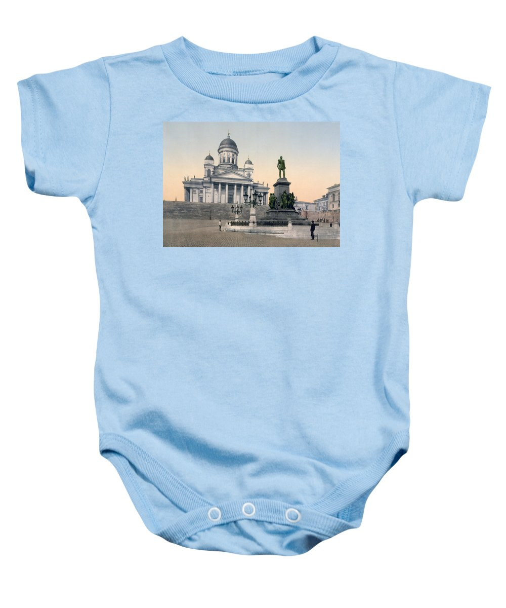 Helsinki Baby Onesie featuring the photograph Alexander II Memorial At Senate Square In Helsinki Finland by International Images