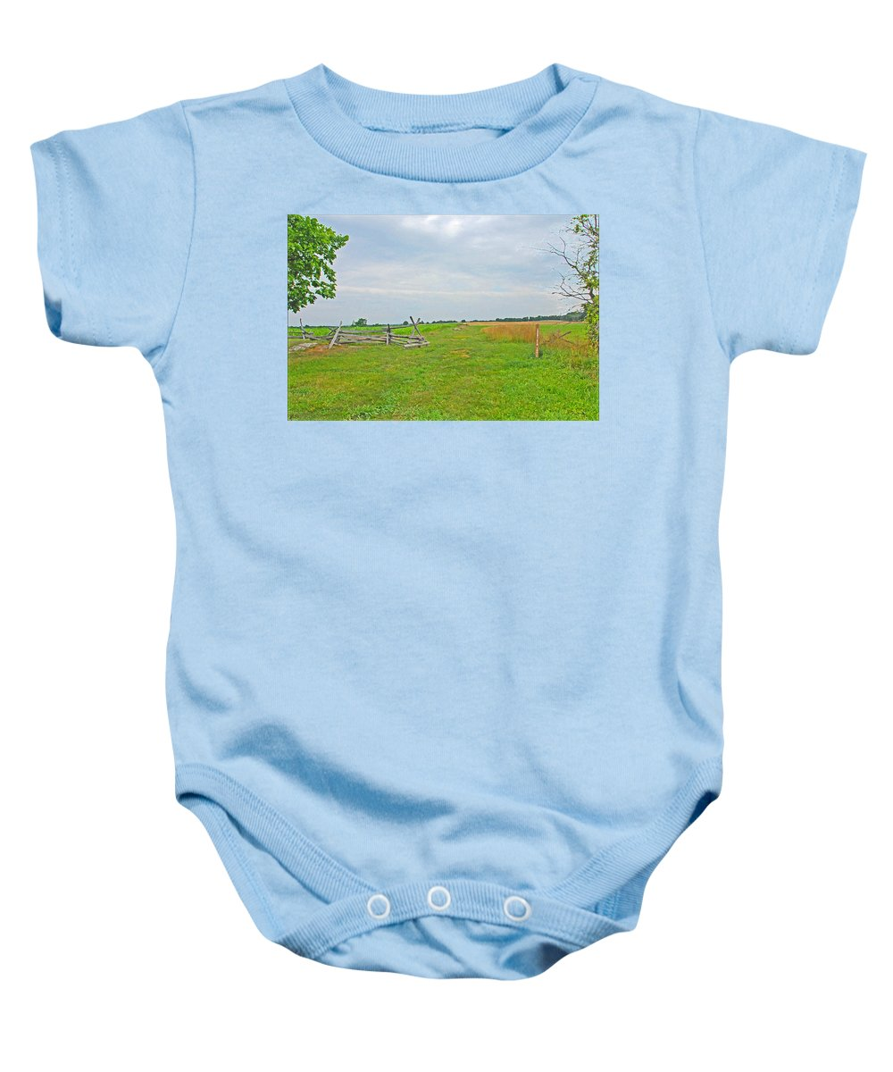 War Baby Onesie featuring the photograph Antietam Battle Of The Cornfield by Cindy Manero