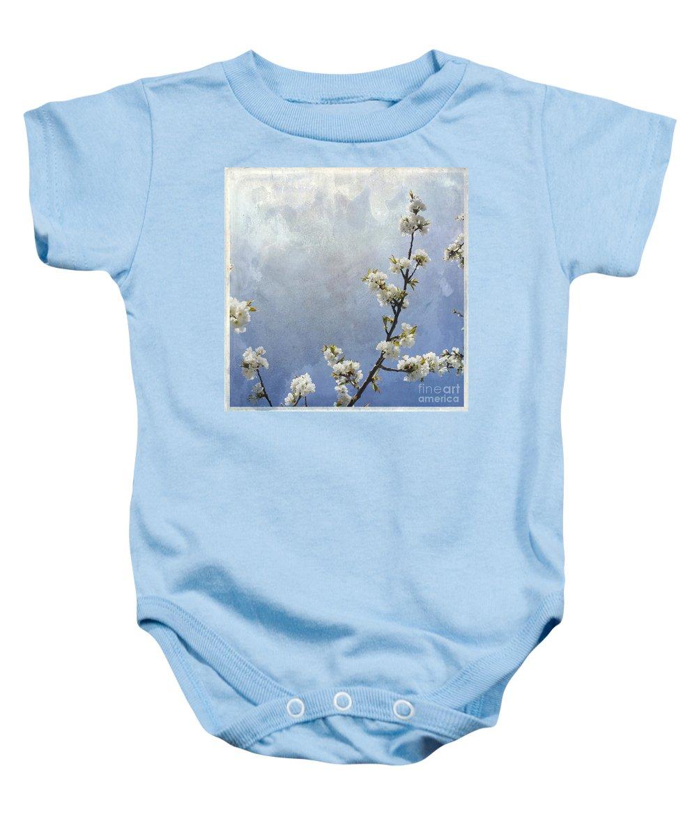 Apple Blossom Baby Onesie featuring the photograph Apple Branch On A Textured Background by Bernard Jaubert