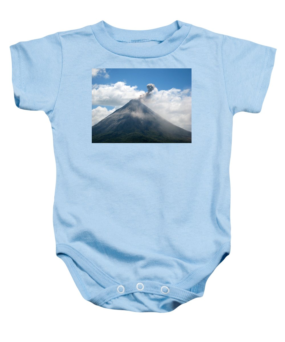 Volcano Baby Onesie featuring the photograph Arenal Eruption by Eric Tressler