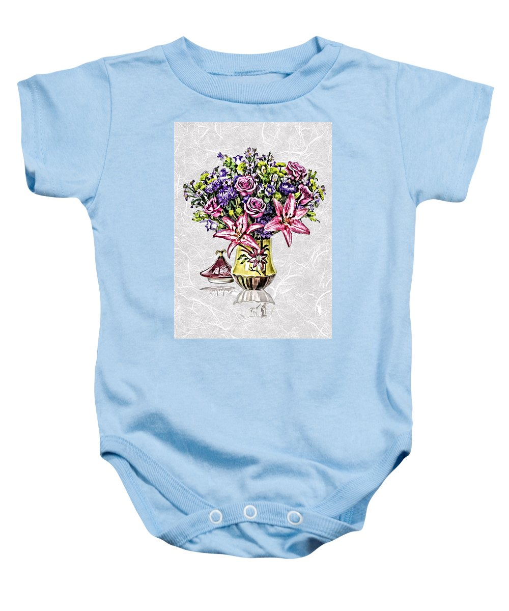 Floral Baby Onesie featuring the painting Arrangement In Pink And Purple On Rice Paper by Elaine Plesser