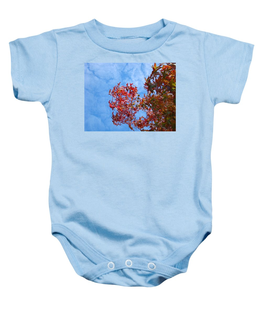 Autumn Baby Onesie featuring the photograph Autumn Trees Art Prints Blue Sky White Clouds by Baslee Troutman