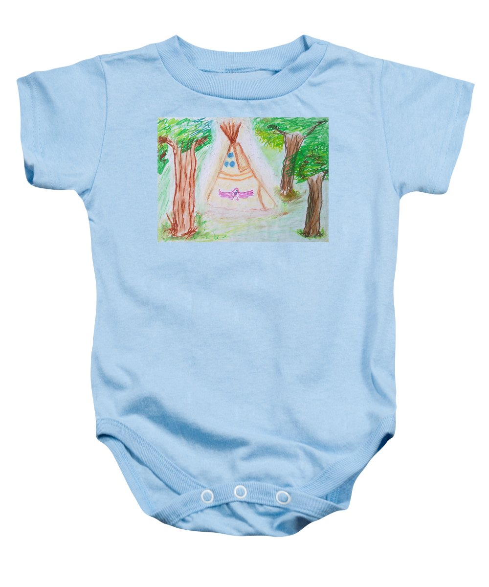 Nth American Indian Baby Onesie featuring the painting Awakening Dreams by Michael Woolcock