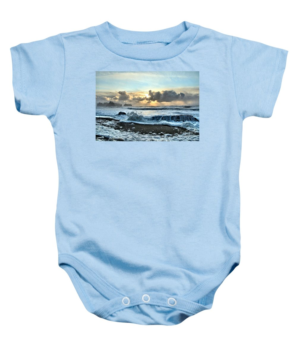 Rialto Beach Baby Onesie featuring the photograph Awash In The Sea by Adam Jewell