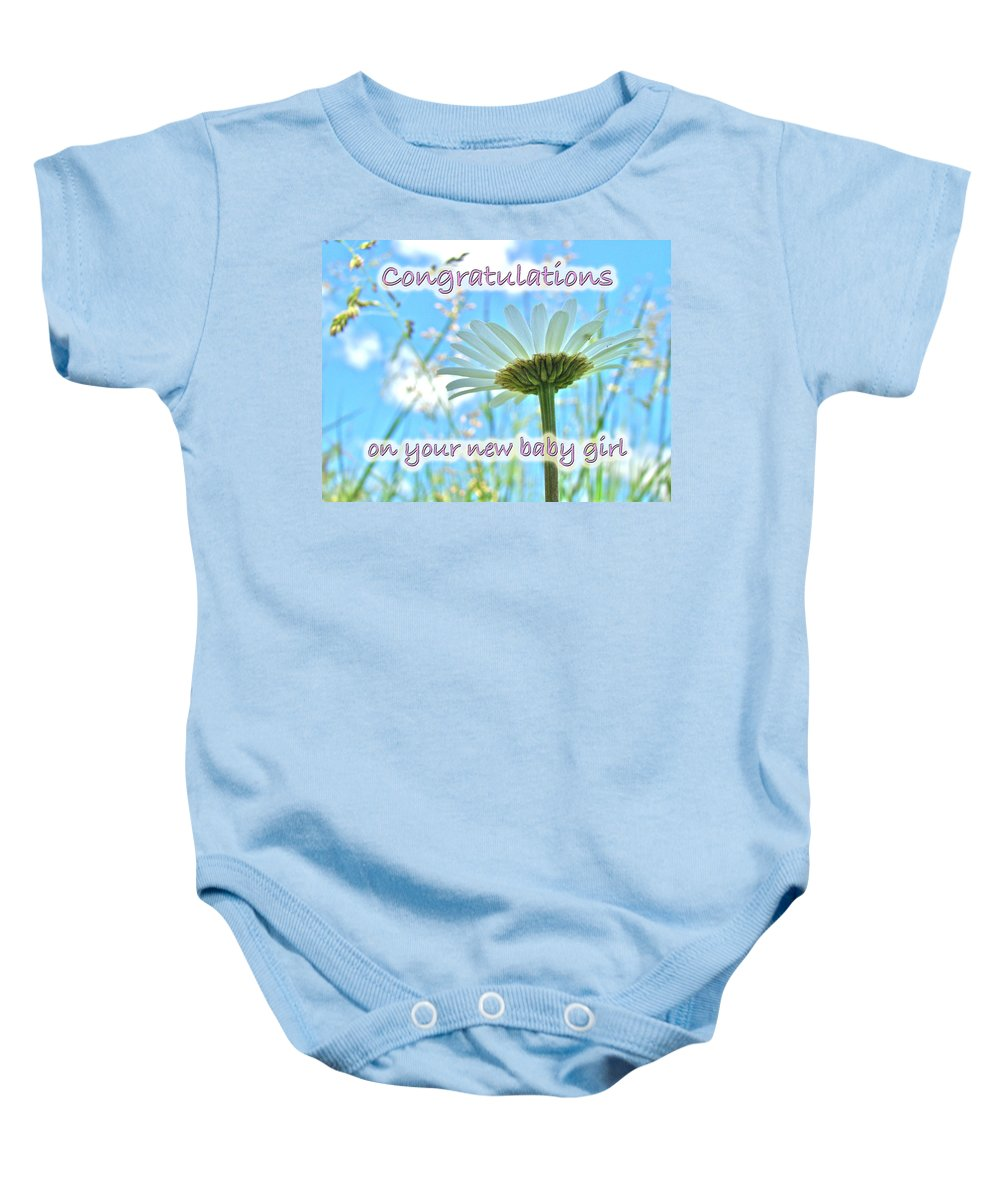 Congratulations Baby Onesie featuring the photograph Baby Girl Congratulations Greeting Card - Oxeye Daisies by Mother Nature