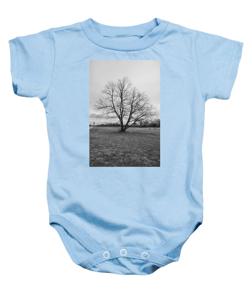 Tree Photographs Baby Onesie featuring the photograph Barren Tree On A Winters Day by Catherine Conroy