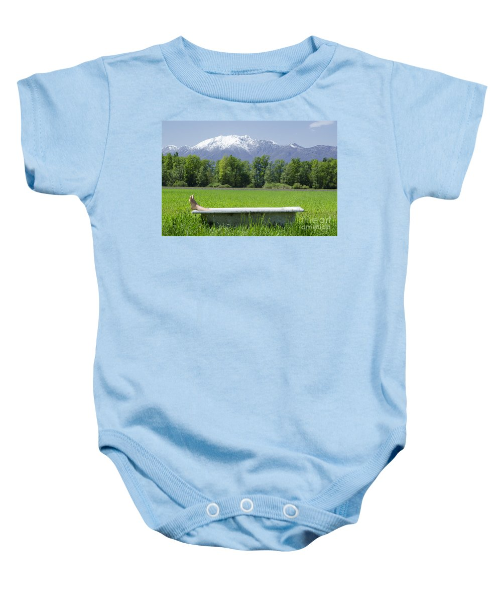 Feets Baby Onesie featuring the photograph Bathtub On A Green Field by Mats Silvan