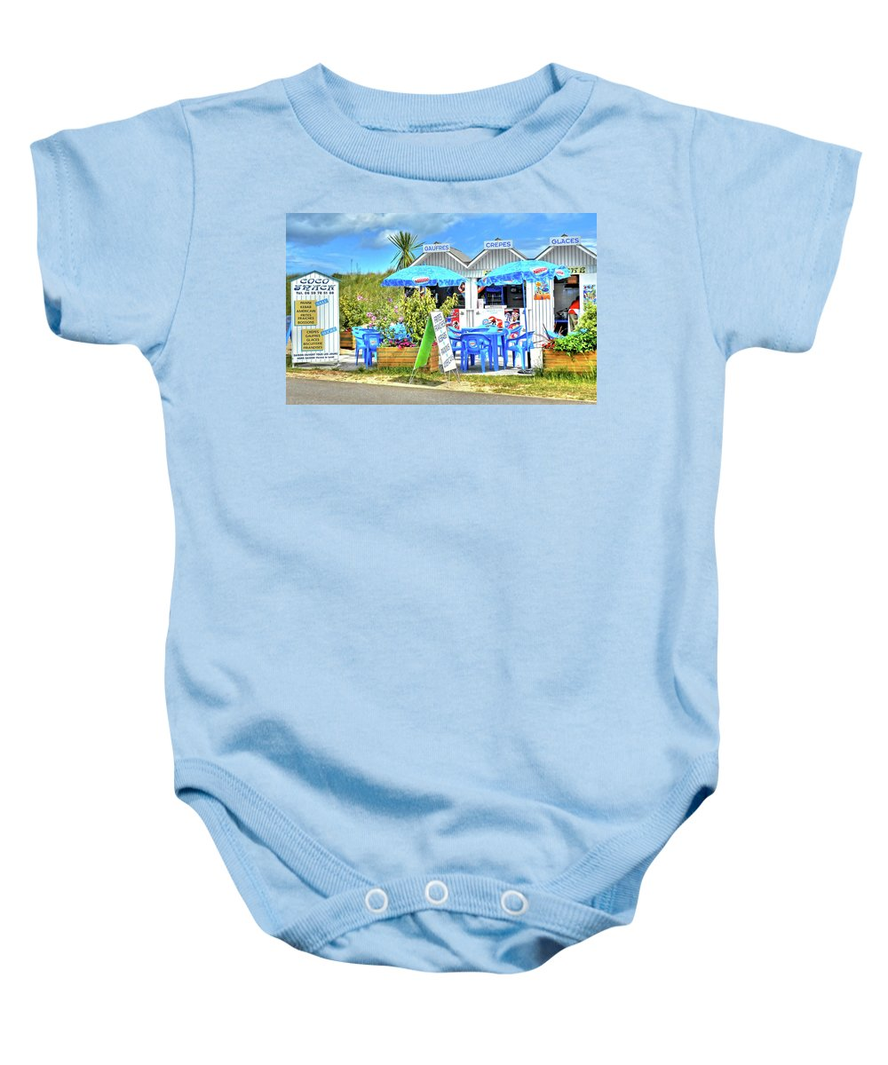 Beach Food Shack Baby Onesie featuring the photograph Beach Food Shack France by Dave Mills