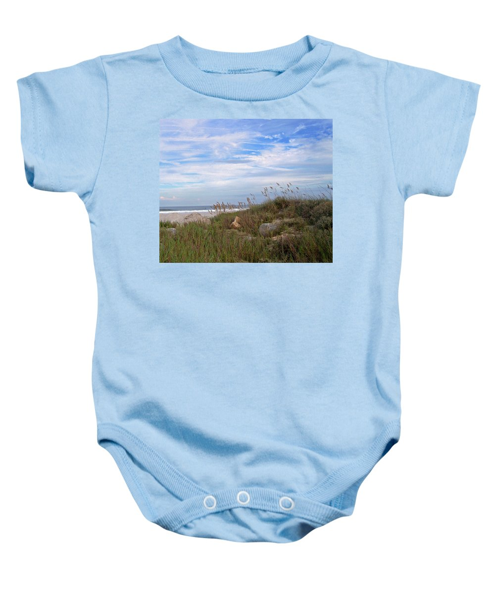 Sea Grass Baby Onesie featuring the photograph Beach Rocks by Patricia Taylor