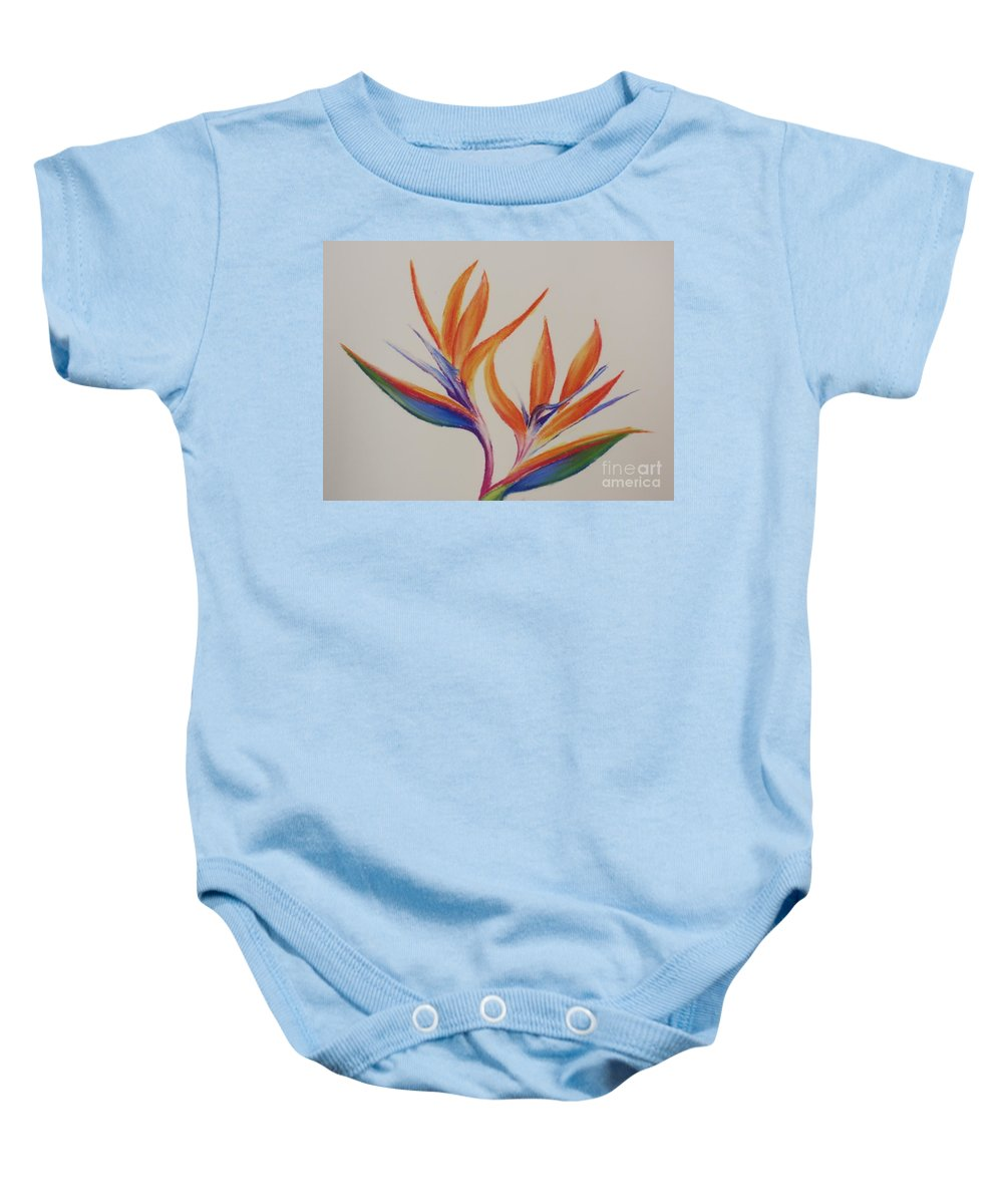 Drawing Baby Onesie featuring the painting Birds Of Paradise II by Tatjana Popovska