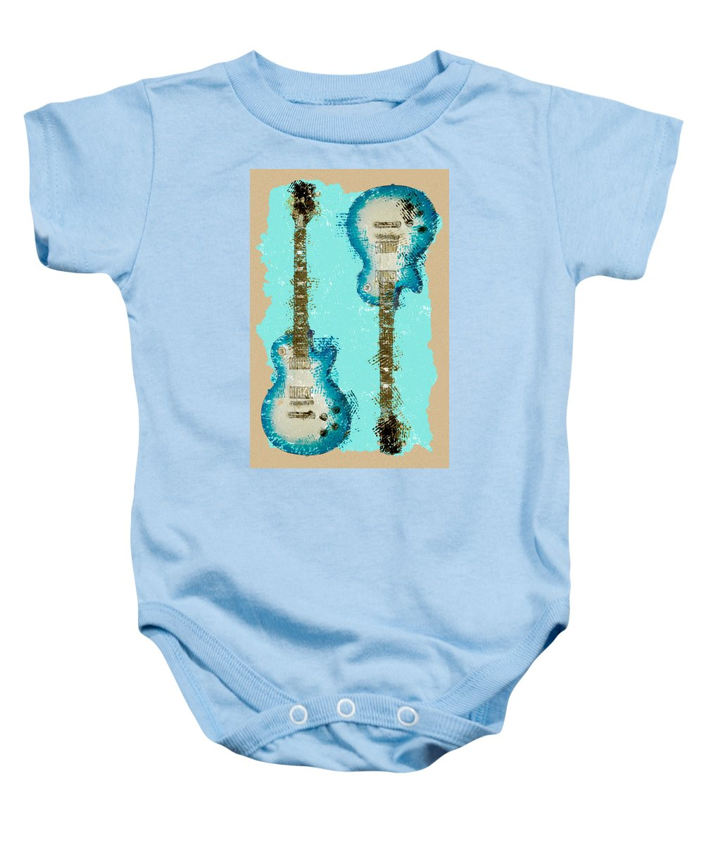 Guitar Baby Onesie featuring the photograph Blue Abstract Guitars by David G Paul