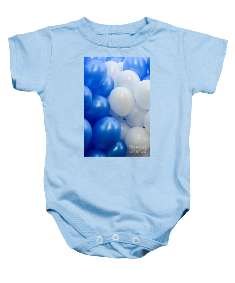 Balloons Baby Onesie featuring the photograph Blue And White Balloons by Amir Paz