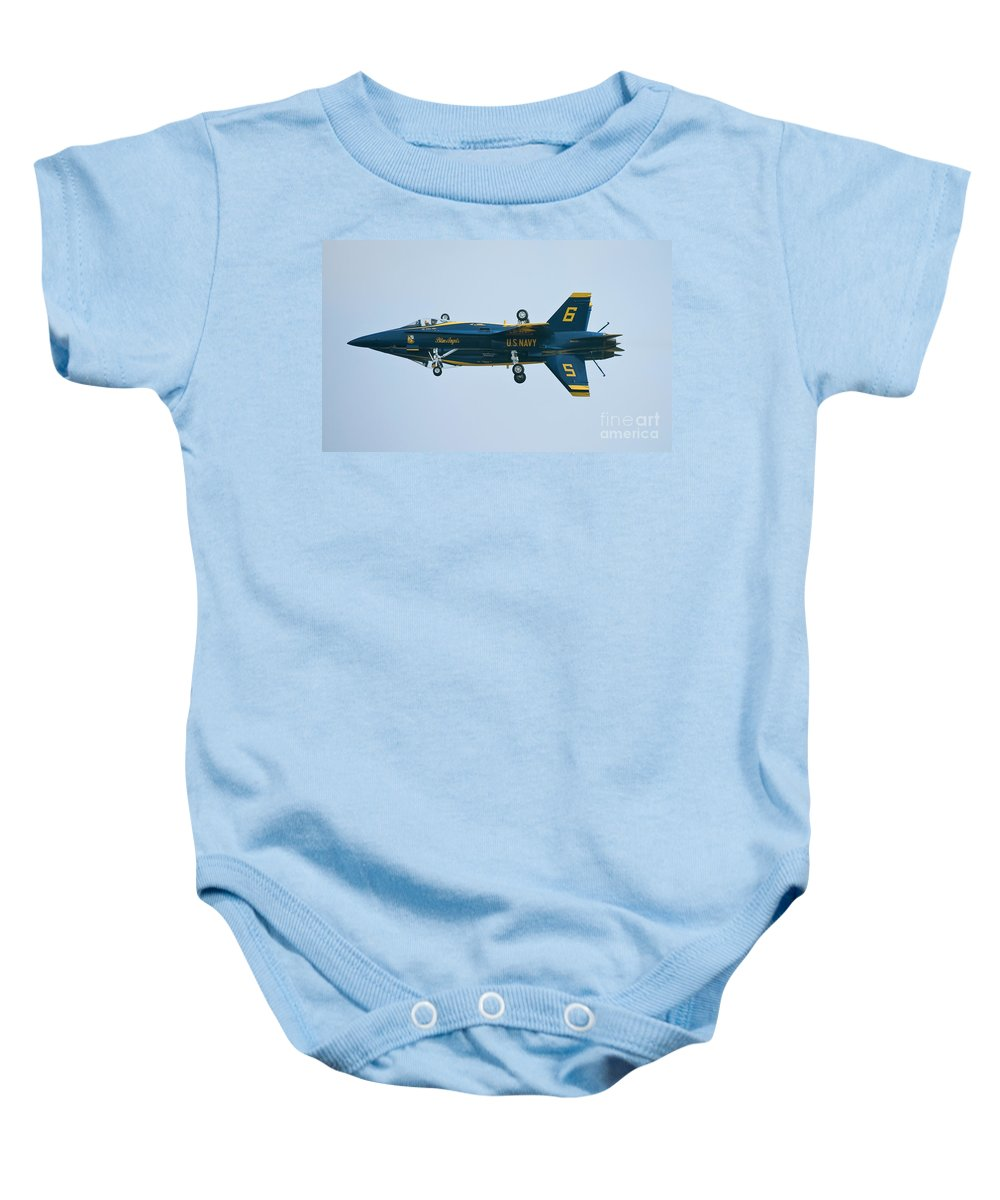 Aviation Baby Onesie featuring the photograph Blue Angels Solo Mirror by Tim Mulina
