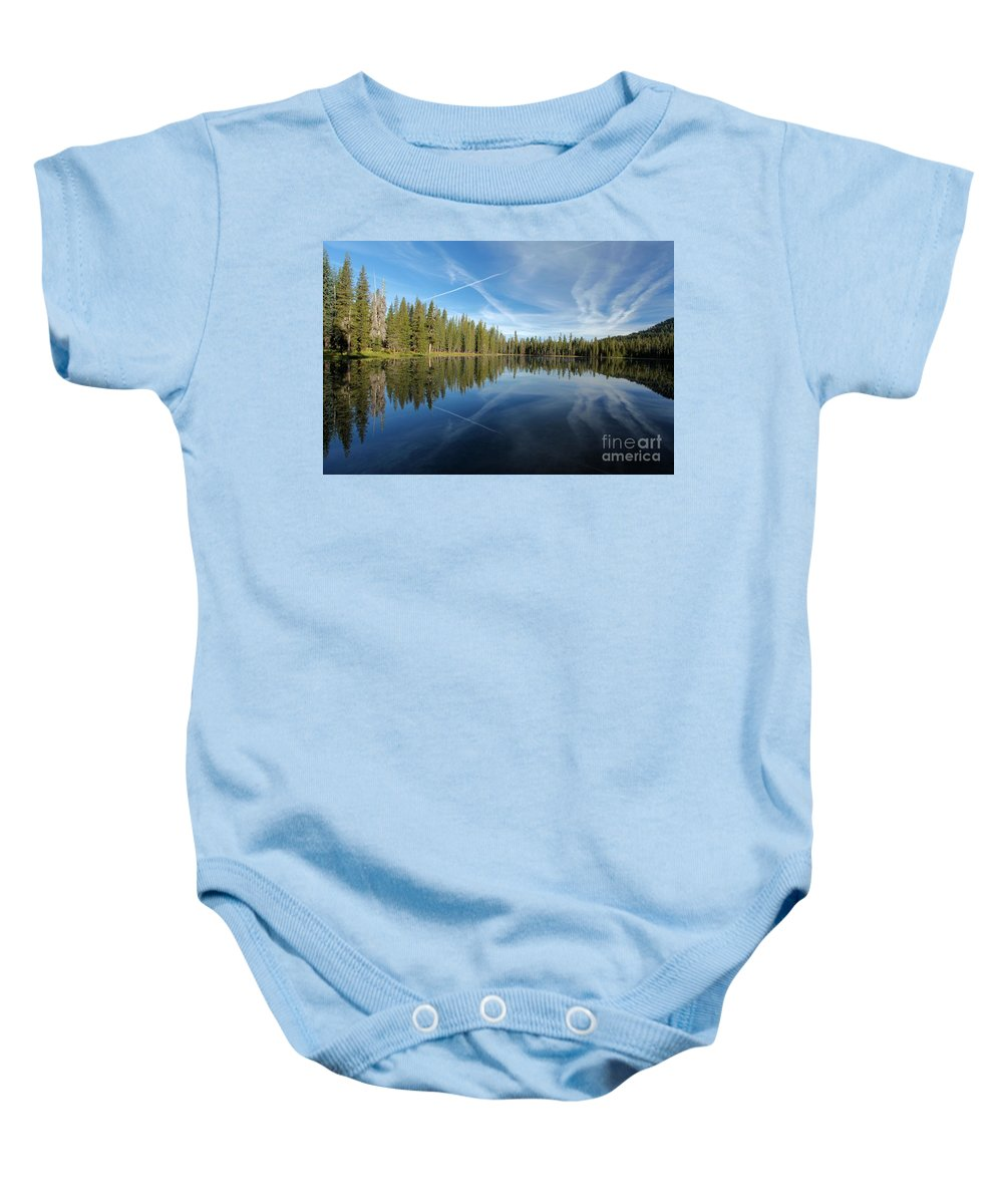Summit Lake Baby Onesie featuring the photograph Blue Mirror by Adam Jewell