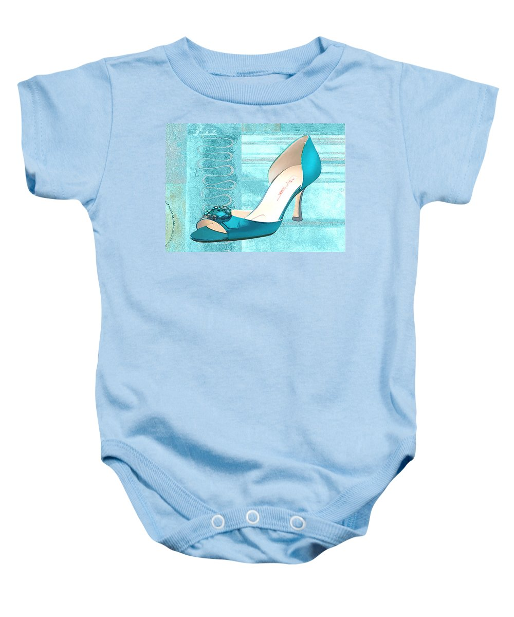 Shoes Heels Pumps Fashion Designer Feet Foot Shoe Baby Onesie featuring the painting Blue Satin Ball Gown Pump by Elaine Plesser