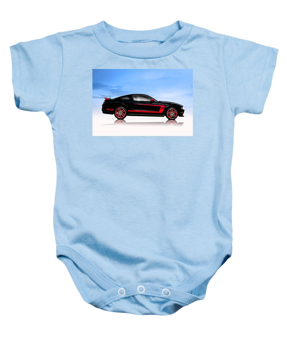 Ford Baby Onesie featuring the digital art Boss Mustang by Douglas Pittman
