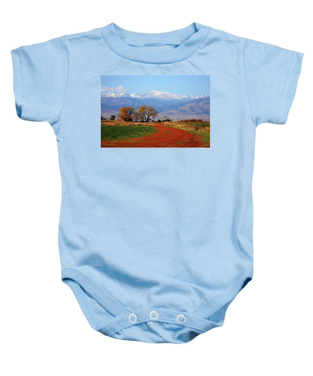 Boulder Baby Onesie featuring the photograph Boulder County Colorado Landscape Red Road Autumn View by James BO Insogna