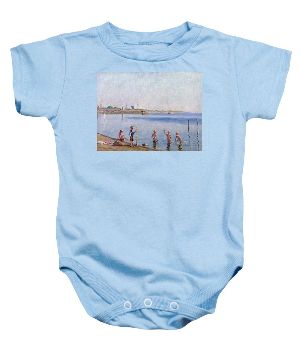 Skinny Dipping Baby Onesie featuring the painting Boys At Water's Edge by Johan Rohde