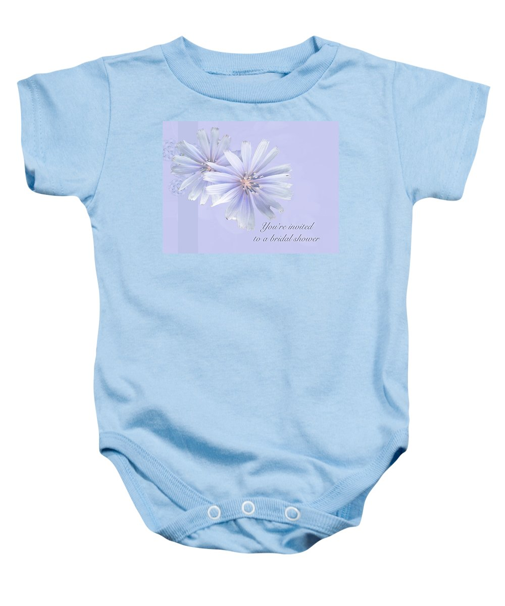 Bridal Baby Onesie featuring the photograph Bridal Shower Invitation - Chicory Wildflower by Mother Nature