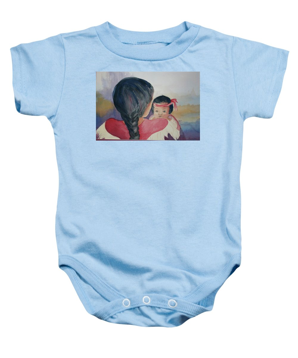 Baby Onesie featuring the painting Bright Eyes by Donna Steward