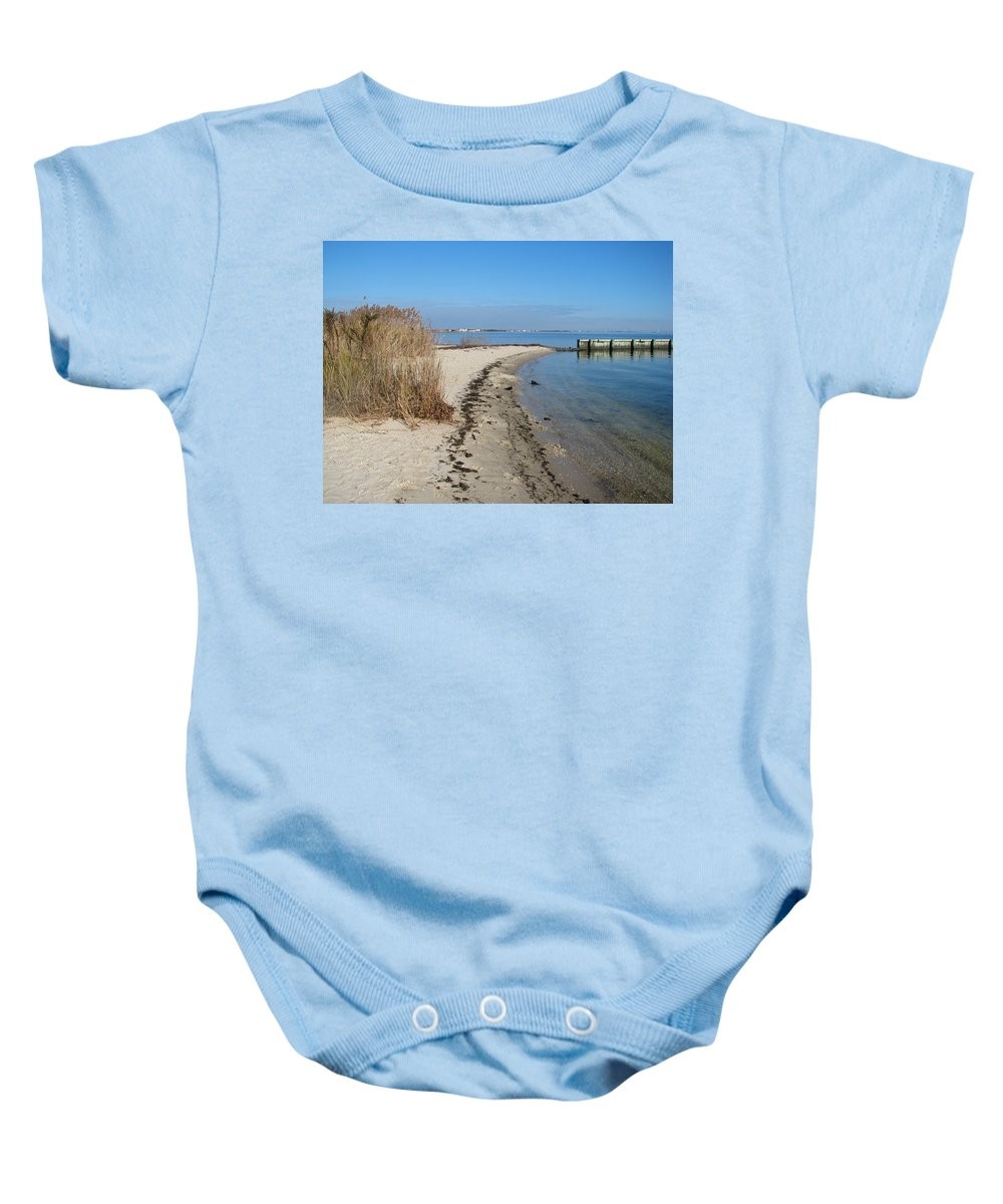 Jersey Shore Baby Onesie featuring the painting Butler Beach by Clara Sue Beym