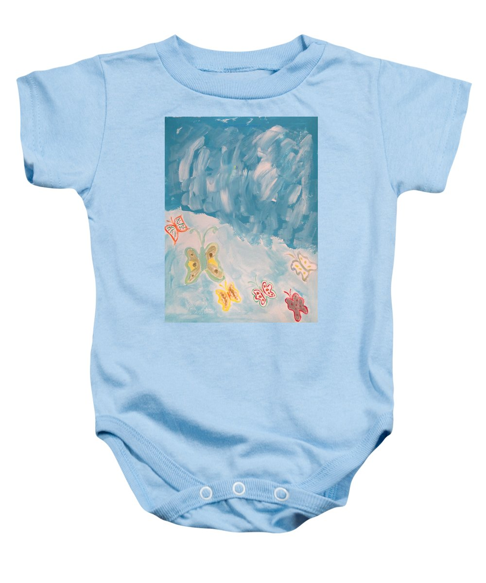 Butterflies Baby Onesie featuring the painting Butterfly Flight by Sonali Gangane