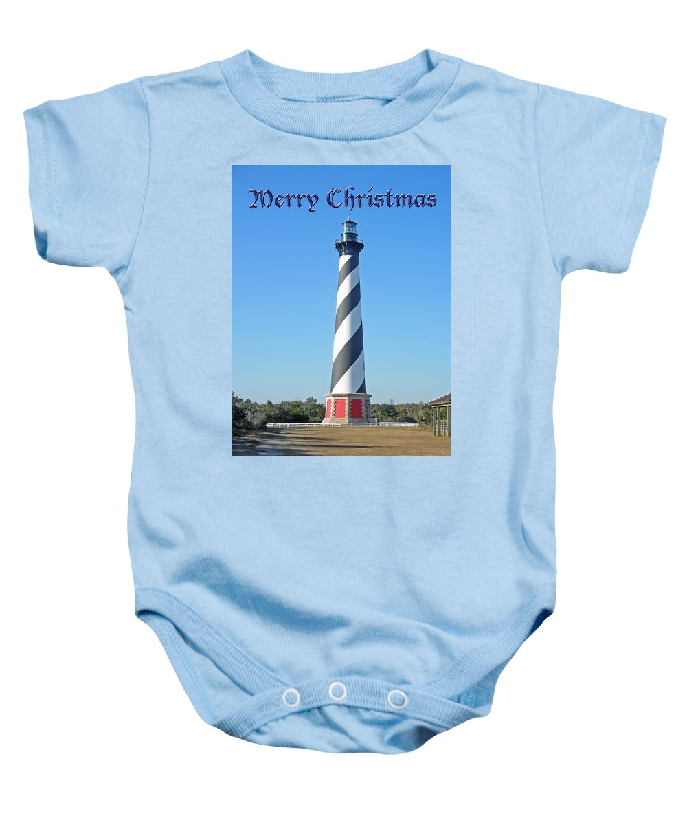 Christmas Baby Onesie featuring the photograph Cape Hatteras Lighthouse - Outer Banks - Christmas Card by Mother Nature