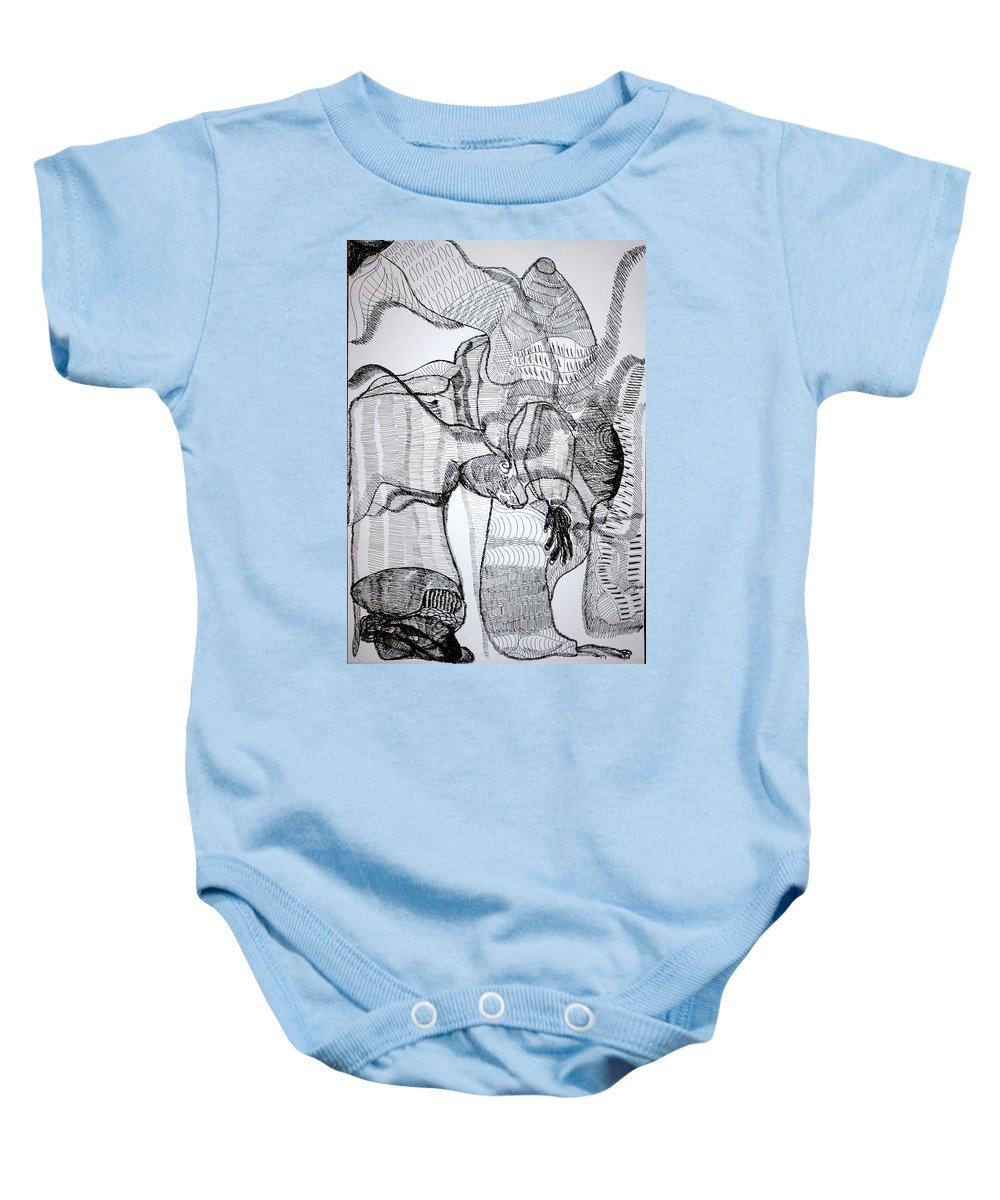 Jesus Baby Onesie featuring the drawing Capoeira by Gloria Ssali