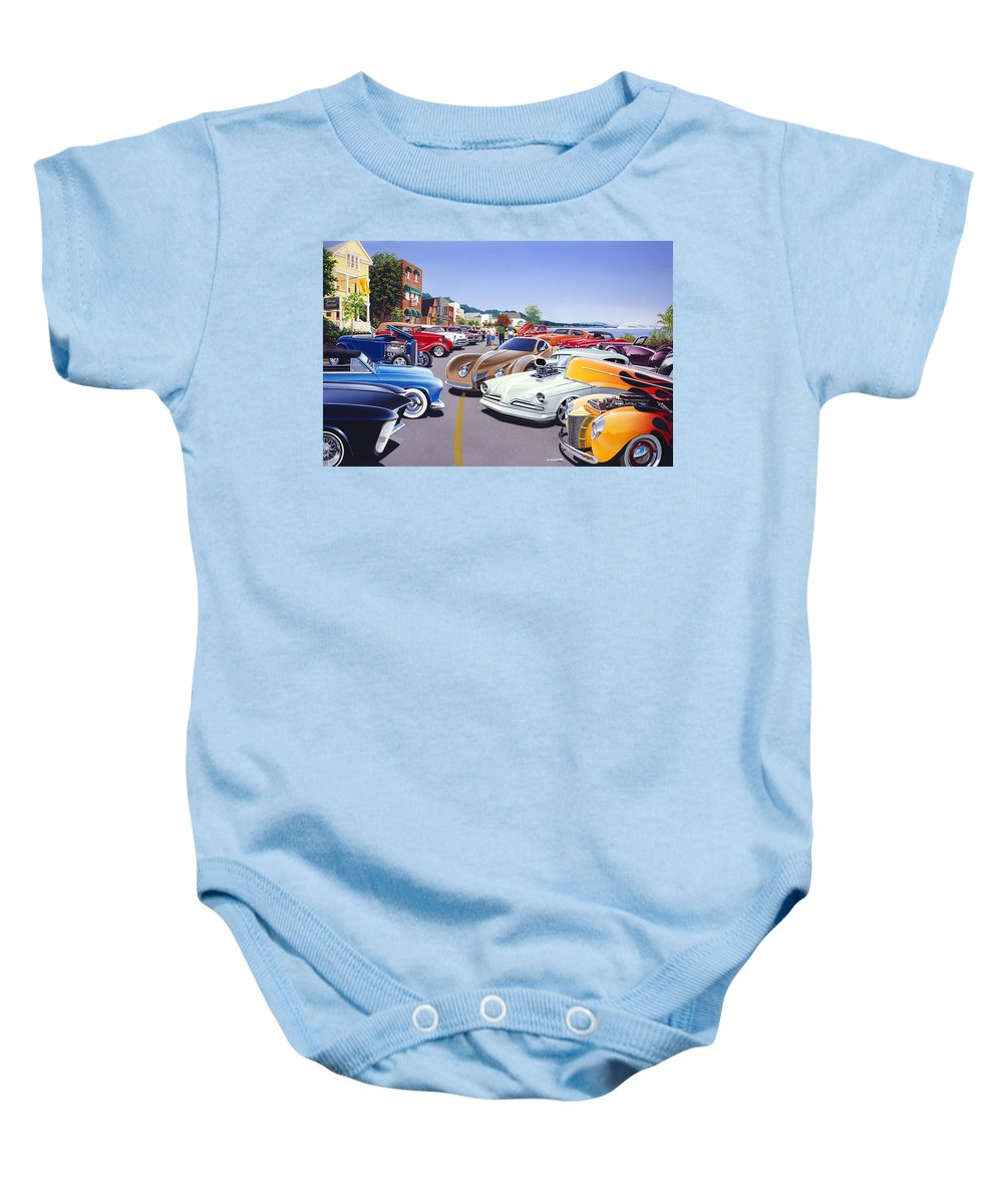 America Baby Onesie featuring the photograph Car Show By The Lake by MGL Meiklejohn Graphics Licensing