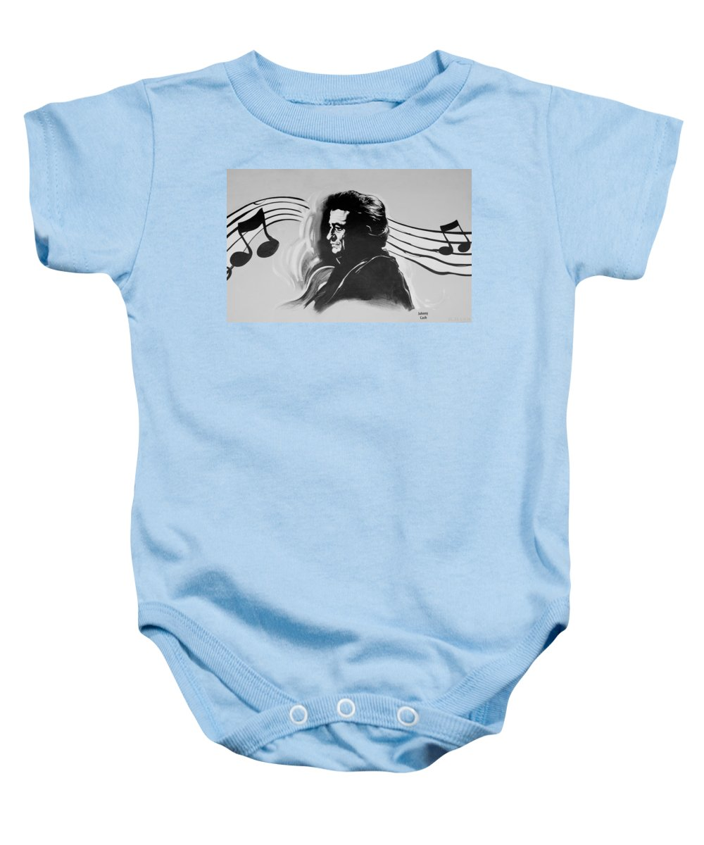 Johnny Cash Baby Onesie featuring the photograph Cash In Black And White by Rob Hans